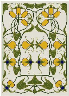A Kumquat Art Nouveau cross stitch pattern PDF by Whoopicat, $4.99