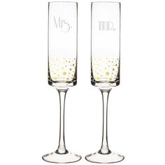 Personalized Gold Accent Champagne Flutes - Set of 2 ($44) ❤ liked on Polyvore featuring home, kitchen & dining, drinkware, personalized champagne flutes, personalized drinkware, engraved wedding flutes, home decorators collection and engraved champagne glasses