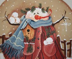 Snowman Pillow   Hand painted  hand sewn  OFG by jennysfolkart, $9.99
