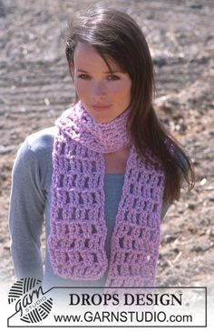 DROPS Crochet scarf in Eskimo. ~ DROPS Design