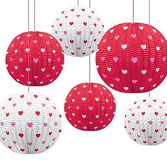 Valentine's Printed Mini Lanterns. Romantic love themed Valentine's Day themed party supplies, Valentine's Day heart balloons, Valentine's Day decorations, tableware and sexy valentine's fancy dress.