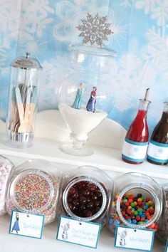 Elsa's Frozen Ice-Cream bar! Kids make their own Sundae instead of reg scoop of ice cream and cake