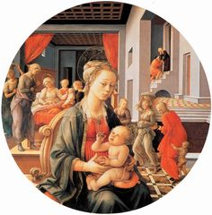 Madonna and Child with the Birth of the Virgin, Filippo Lippi