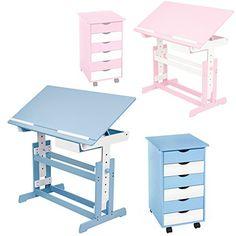 TecTake #Kinderschreibtisch mit #Rollcontainer Schreibtisch neig- & höhenverstellbar -diverse Farben- (Blau)