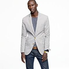 Like the stripes and jacket for a dressed-up casual look  jcrew.com