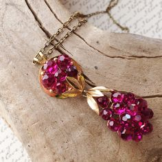 Vibrant raspberry crystal drop pendant necklace, Hollywood glam, Vintage inspired, Up-cycled jewelry, Re-purposed, Recycled, Sentimental by OutsiderArtJewelry on Etsy