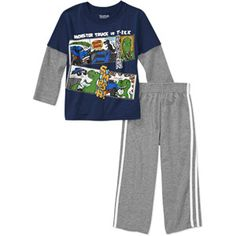 Garanimals Baby Boys' 2-Piece Graphic Hangdown and Taped Pant Set