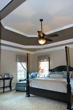 , Marvelous Traditional Adult Bedroom Ideas With Elegant Queen Size Bed Also Brown Wooden Bed Frame Also Green Padded Lounge Also Black Semi Circle Console Table Also Dark Brown Blade Ceiling Fan With Light: Applying Best Adult Bedroom Ideas Small Master Bedroom, Dream Bedroom, Stairs Master, Girls Bedroom, Bedroom Ceiling, Bedroom Decor, Bedroom Ideas, Mirror Bedroom, Home Design