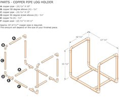 Coffee Table Plans, Diy Coffee Table, Copper Pipe Shelves, Copper Pipes, Metal Projects, Home Projects, Firewood Holder, Log Holder, Wood Store