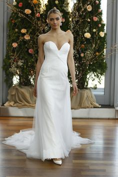 """""""Katherine"""" strapless dress with sweetheart neckline by Isabelle Armstrong Spring 2016 Collection. Photography: Courtesy of Isabelle Armstrong. Read More: http://www.insideweddings.com/news/fashion/isabelle-armstrong-spring-2016-collection/1855/"""