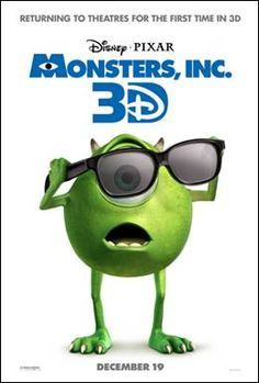 Monsters, Inc coming back to theatres in 3D!!!