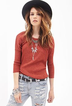 Marled Knit Dolman Sweater | FOREVER21 - 2000056519 color: rust/black or black/grey