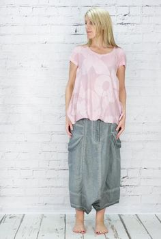Rundholz short sleeved feminine t shirt with soft gathers across the back 100% cotton worn with Rundholz extreem dropped crotch linen harem trousers