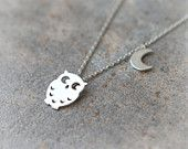 Owl and Moon Necklace in silver by laonato on Etsy on Wanelo Owl Earrings, Owl Necklace, Cute Necklace, Arrow Necklace, Owl Bracelet, Owl Jewelry, I Love Jewelry, Jewellery Box, Jewelry Accessories