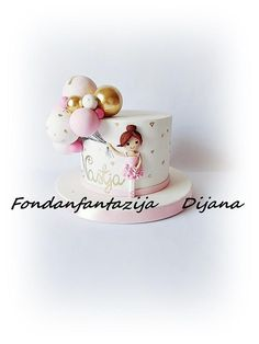 Baby girl with ballons by Fondantfantasy from { { FeedTitle} }{ { EntryUrl} } Birthday Cake For Daughter, Baby Girl Birthday Cake, Baby Girl Cakes, Cute Birthday Cakes, Beautiful Birthday Cakes, Gold Birthday Cake, Little Girl Cakes, Birthday Cards, Girl Birthday Decorations