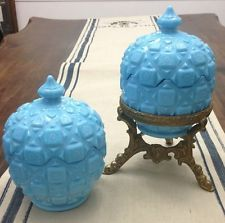 2 Tiffany Blue Opaline Milk Glass Covered Jar,Sugar Bowl,Lidded Dish Marble Slag
