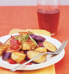 Spicy Asian Eggplant With Tofu and Red Pepper: Recipes: Self.com