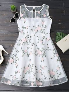 Floral Patched Sleeveless Organza Dress - White S Girls Frock Design, Kids Frocks Design, Baby Frocks Designs, Frocks For Girls, Dresses Kids Girl, Kids Outfits, Baby Outfits, Kids Dress Patterns, Kids Gown