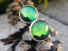 Earrings with real photo of northern lights from Balsfjord, Norway. Free from nickle. Photo is glued with glass tile on top. Star Photography, Nature Photography, Holidays In Norway, Types Of Rings, Yellow Flowers, Earrings Handmade, Northern Lights, Cufflinks, Gemstone Rings