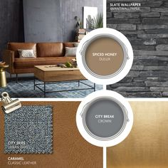 Monday Moodboard - Embrace the Autumn with rich caramel leather set against tones of slate grey. 'Spiced Honey' the new Dulux Colour of the Year will add soft warmth. Interior Color Schemes, Interior Paint Colors, Paint Colors For Home, Colour Schemes, House Colors, Dulux Paint Colours Grey, Living Room Grey, Home Living Room, Living Room Decor