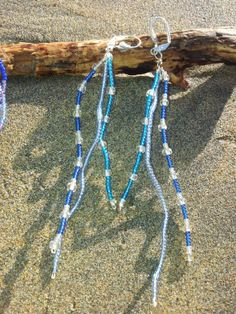 SALE Atlantic Blue Beaded Wire and Glass Bead by OnenJewellery, £6.00