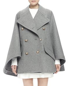 Double-Breasted+Cape+Coat,+Gray+by+Chloe+at+Neiman+Marcus.