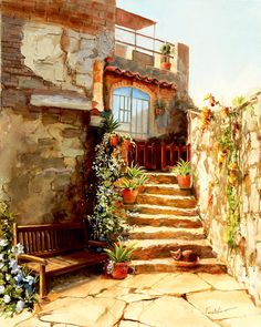 old courtyards | Italian Courtyard Tuscany Painting - Italian Courtyard Tuscany Fine ...