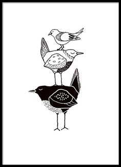 Poster/print met drie grafische vogels in zwart-wit. Deze poster past mooi samen…