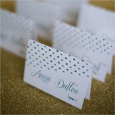 green polka dot escort cards