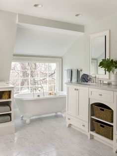 Bathroom:Design Glamorous Clawfoot Tubs In Bathroom Beach Style Benjamin Moore Healing Aloe Paint Next To Bathroom Vanity Color Alongside Honed Marble Ideas Design Calming Color Palette for Small Modern Master Bathroom