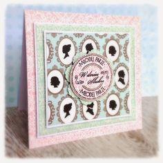 Kartka ślubna w odcieniach błękitu scrapbooking wedding card