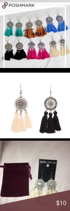 """Tassel Earrings Beautiful Tassel Fun Earrings. I have sold out on all the other colors. I have 2 earrings left. One Black pair & One White/cream color left. Size: 2.9"""" to 0.82"""". Price includes one pair but will discount price if you bundle both pairs. Jewelry Earrings"""