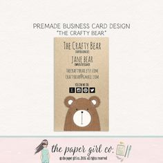 bear business card calling card social card by ThePaperGirlCo
