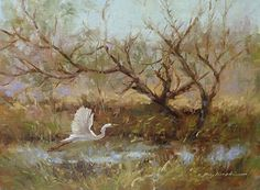 Early Morning Egret by Martin Figlinski Oil ~ 9 x 12
