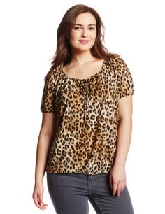 595f6ece70ebef Star Vixen Women's Plus-Size Short Sleeve Keyhole Peasant Top (Click The  Image To Buy It)