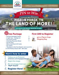 Enter the 2nd Annual Pin to Win Campaign from the Pigeon Forge Dept. of Tourism!