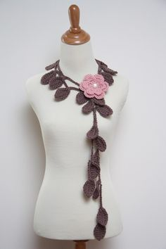 Crocheted necklace scarf.