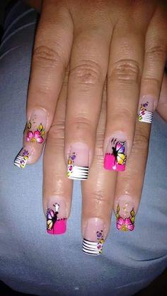 Nail Manicure, Toe Nails, Spring Nails, Summer Nails, Butterfly Nail Art, Nail Art For Beginners, French Nail Art, Pretty Nail Art, Nail Decorations