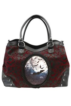 Banned Gothic Bag, Chemistry Bag Bat Cameo and Flocked Patterned Handbag - £28.99 :From ANGEL CLOTHING