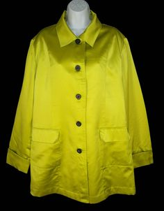Chico's Chartreuse Green Jacket Coat 3 XL Pure Silk Satin Sheen #Chicos #BasicCoat
