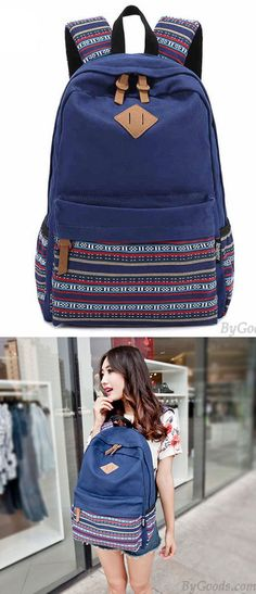 Cheap New Folk Striped College Canvas Backpack For Big Sale!There are a pig nose on the top of the Folk Striped College Canvas Backpack. College Backpacks, Women's Backpacks, Retro Backpack, Backpack For Teens, College Canvas, Black School Bags, Girls Bags, Canvas Backpack, Backpacker
