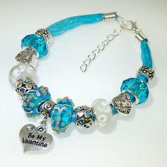 European Charm Bracelet Handmade Turquoise Love by BekisBeads