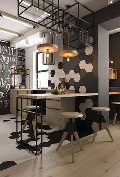 Foto: Betonlook tegels op de muur - industrieel interieur - keuken eetkamer. Geplaatst door gemmavandervegt op Welke.nl
