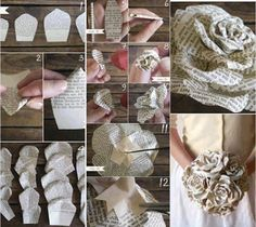 How to make pretty flowers with newspaper step by step DIY tutorial instructions, How to, how to do, diy instructions, crafts, do it yoursel...