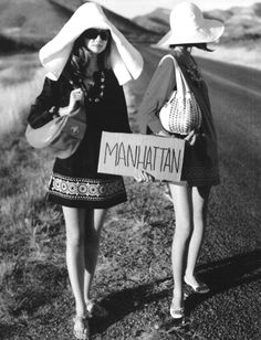 Girls hitch hiking - late 1960s.