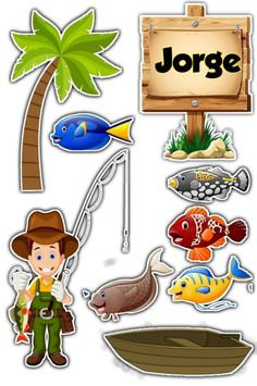Topo de bolo pescador Surf, No Bake Desserts, Cake Toppers, Ale, Clip Art, Baby Shower, Stamp, Scrapbook, Fish