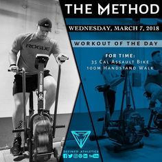 -WORKOUT OF THE DAY- March 7 2018 For Time: -35 Cal Assault Bike -100m Handstand Walks @definedathleticsmethod by @definedathletics by @andrewandtianna All the hashtags: #definedathletics #definedathleticsmethod #themethod #method #workoutoftheday #wod #fitness #workout #strength #gymnastics #endurance #training #gymlife #fitlife #getstrong #gym #athletes #affiliates #lifestyle #competitor #healthy Workout indexing: #taskpriority #fortime #assaultbike #handstandwalk