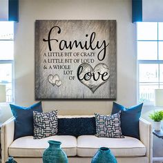 """""""Family - A Little bit of Crazy - A Little bit of Loud - & A Whole Lot of Love"""" Quote on a beautiful wooden image backdrop square canvas. Our buyers are loving this! What a fantastic gift for a family home this year! Designed by our Gearden artist and not available anywhere else! Our canvases are delivered stretche"""