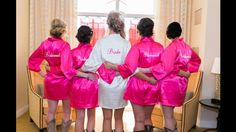 Set of 4 - 3 Front OR Back Embroidered Satin Bride and Bridesmaids Robe and 1 with BOTH Front and Back