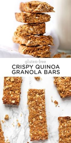 Crispy, crunchy, full of oats, honey, and quinoa, these gluten-free granola bars are delicious. They're the perfect healthy snack and great for on-the-go! Easy homemade, from-scratch recipe. #granolabars #homemadegranolabars #healthysnacks #glutenfreegranolabar Gluten Free Granola, Gluten Free Snacks, Gluten Free Cookies, Quinoa Granola Bars, Homemade Granola Bars, Gluten Free Lasagna, Gluten Free Meal Plan, Crispy Quinoa, Healthy Snacks For Kids
